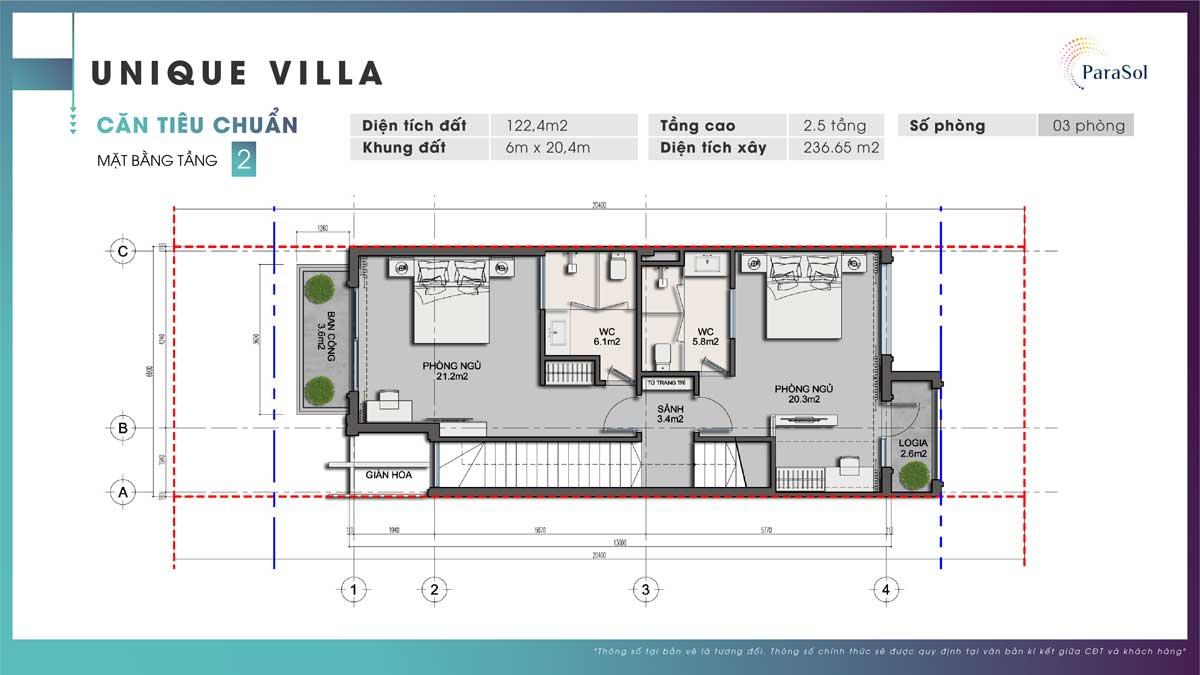 Mat bang tang 2 Unique Villa can tieu chuan - ParaSol Cam Ranh